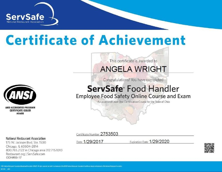 Safe Serve Certificate - Best Design Sertificate 2018